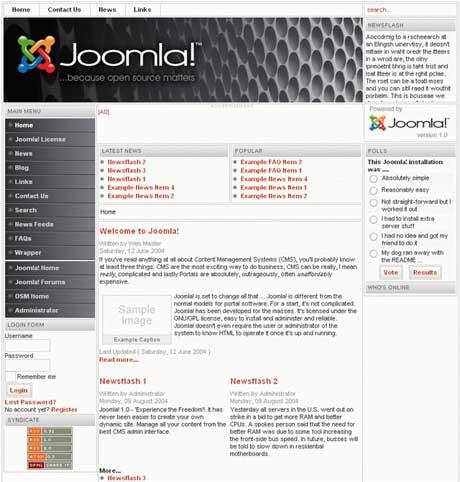 Пример сайта на Joomla