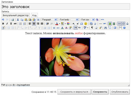 Расширенный визуальный редактор WordPress